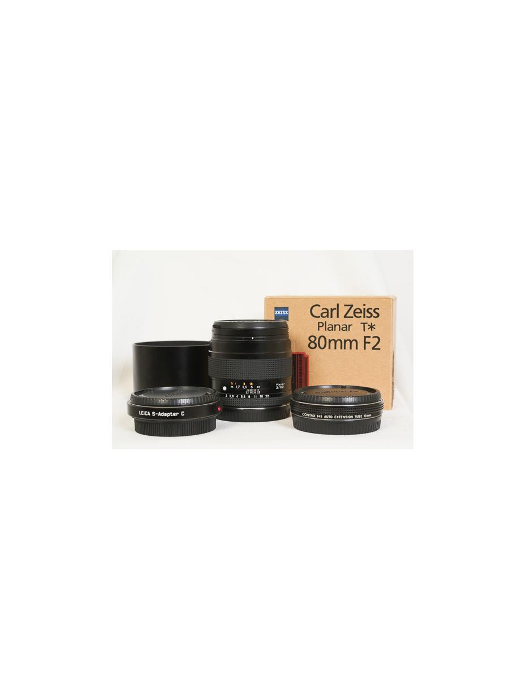 Zeiss Planar 80/2 15300419 monture Contax + bague Ext 13mm + adaptateur Contax/Leica S